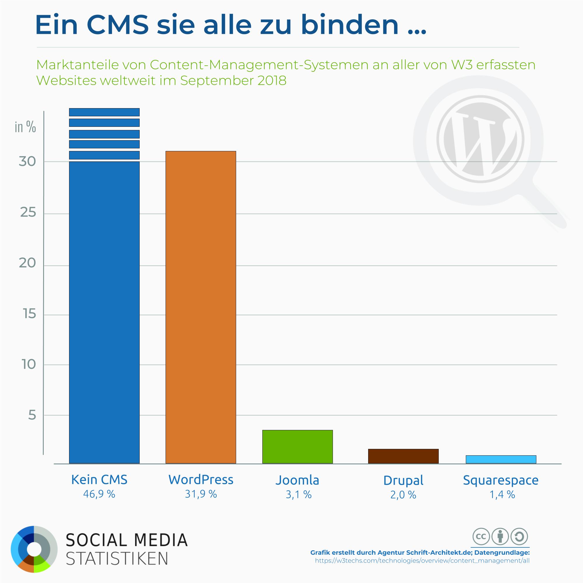 Infografik SocialMediaStatistik.de zum Thema wordpress