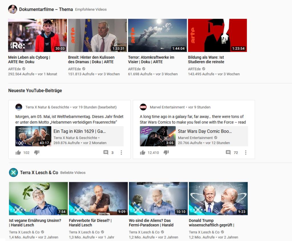 Beiträge bei YouTube auf der Startseite