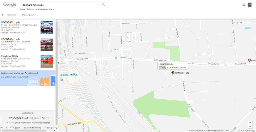 Werbeanzeigen bei Google Maps, wenn nach einem konkreten Begriff gesucht wird.
